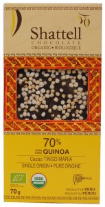 70% Cacao Tingo Maria Single Origin Dark Chocolate with Quinoa, Shattell Chocolate Organic, Peru