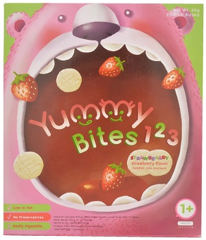Yummy Bites, Strawberry Flavoured Toddler Rice Crackers, Indonesia